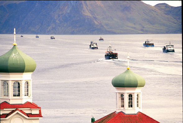 Unalaska Dutch Harbor Alaska Orthodox Church Fishing Boats